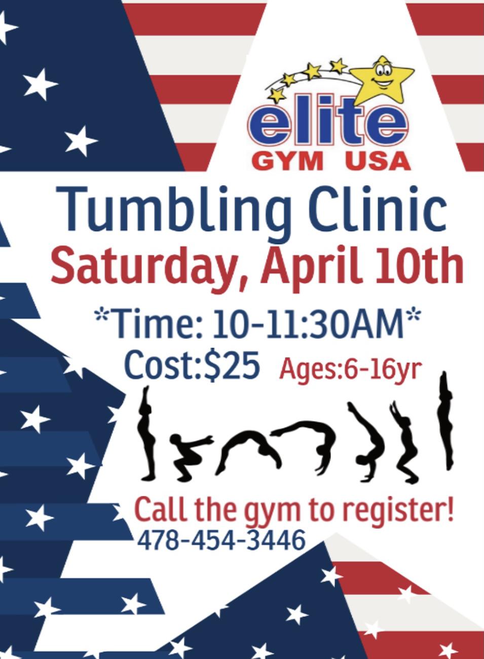 april 10th tumble clinic
